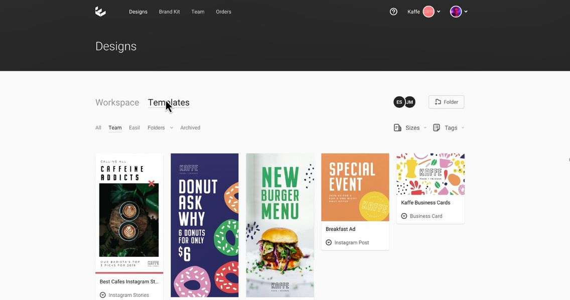 Custom Team Templates in Easil - 9 Best Instagram Tools for Visual Storytelling