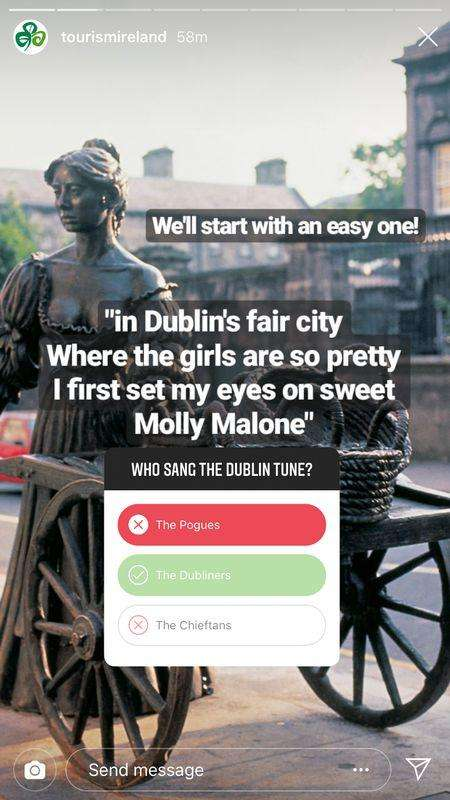 Tourism Ireland Quiz Sticker on Instagram Stories