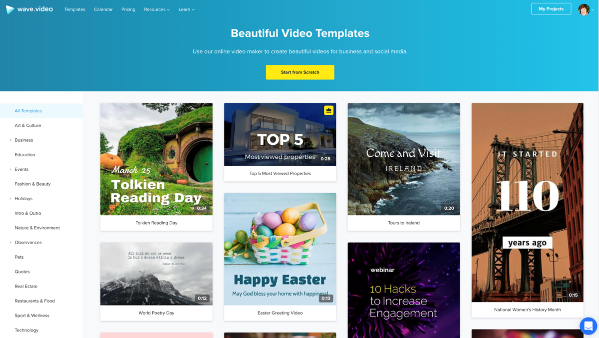Wave Video editor templates