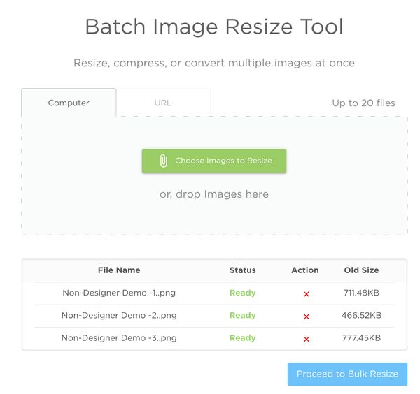 Batch Resize Tool from ImageResize.org