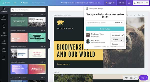 Collaborate on Canva Pro