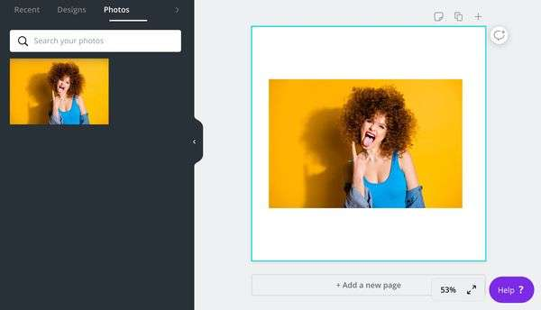How to choose your image in Canva.