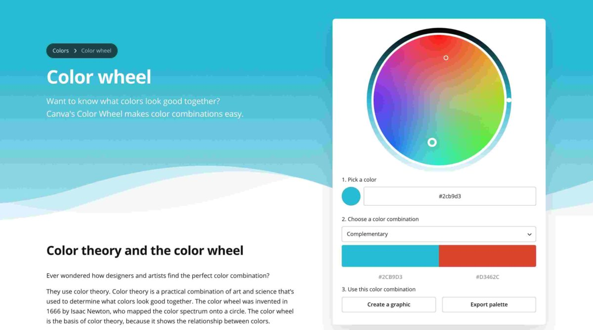 Canva's color wheel tool