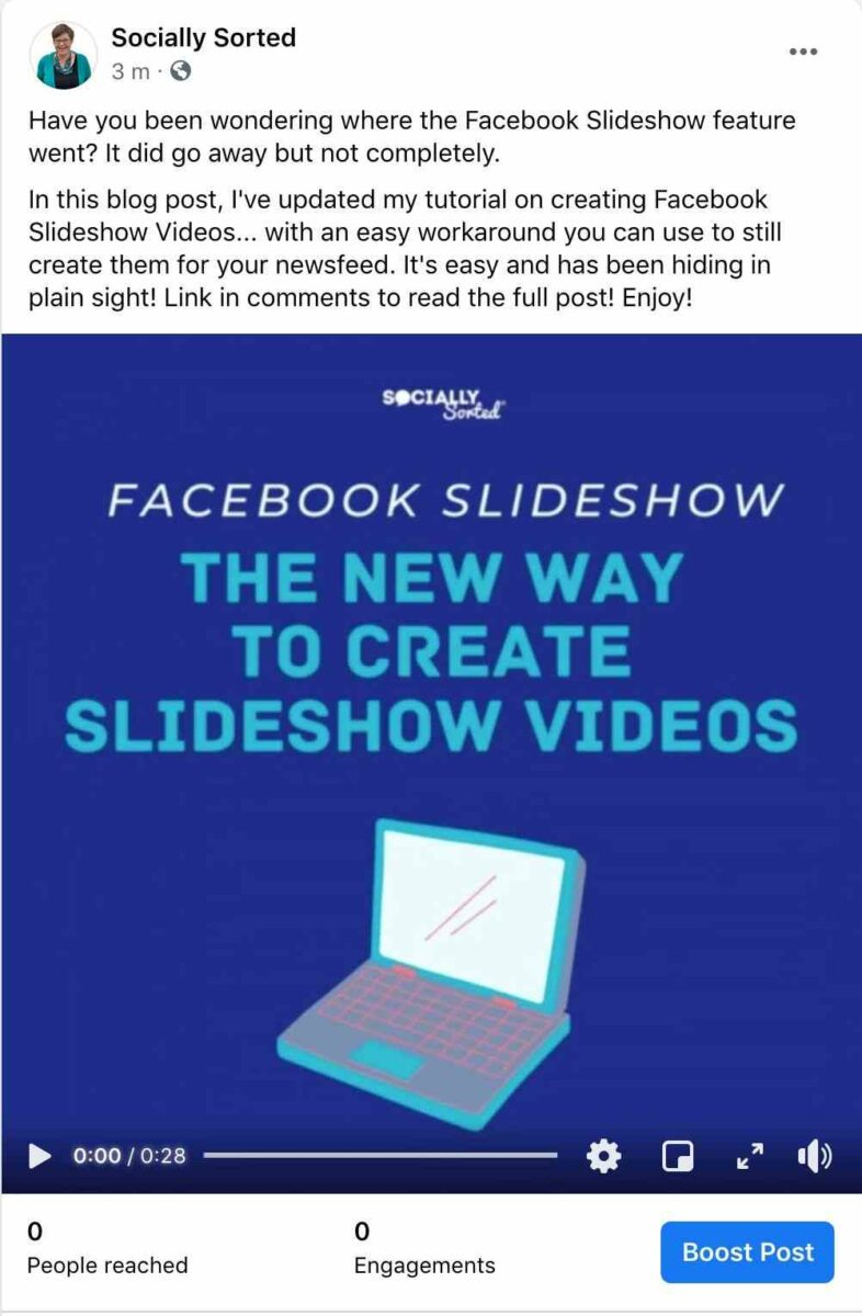 Facebook Slideshow Video post