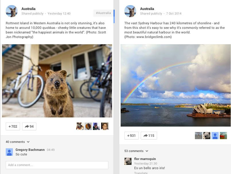 Australia listened...and built their following quickly on Google+