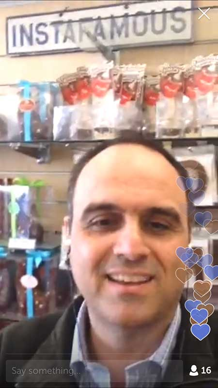 Chocolate Johnny at Perfection Chocolates - 21 Periscope Tips for Winning Broadcasts