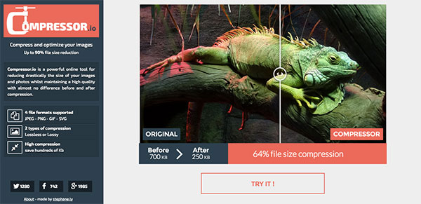Compressor.io compresses and optimizes images up to 90%