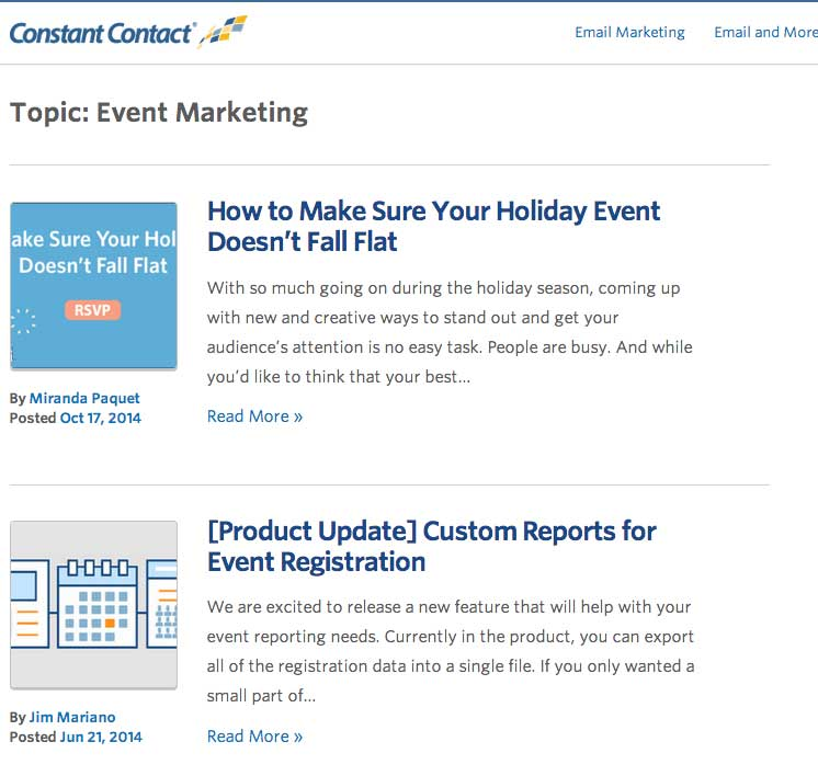 Constant Contact Blog Resource Page