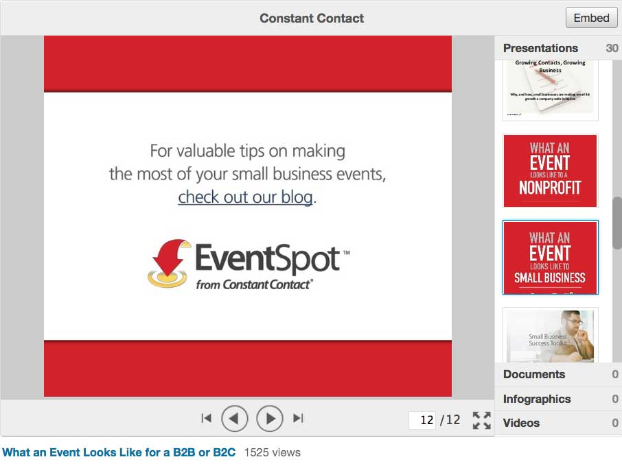 Constant Contact call to action on Slideshare