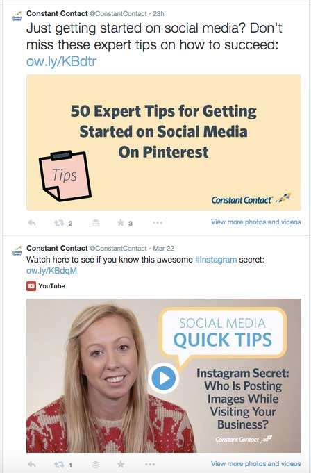 Constant Contact know how to use Images on Twitter... and video.