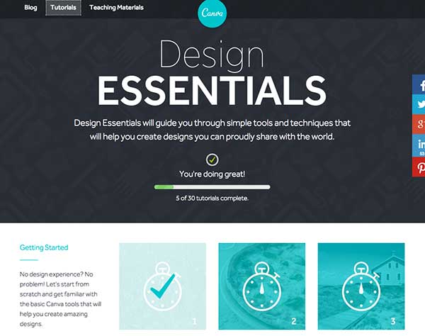 Design Essentials Tutorials at Canva help you to learn about design quickly.