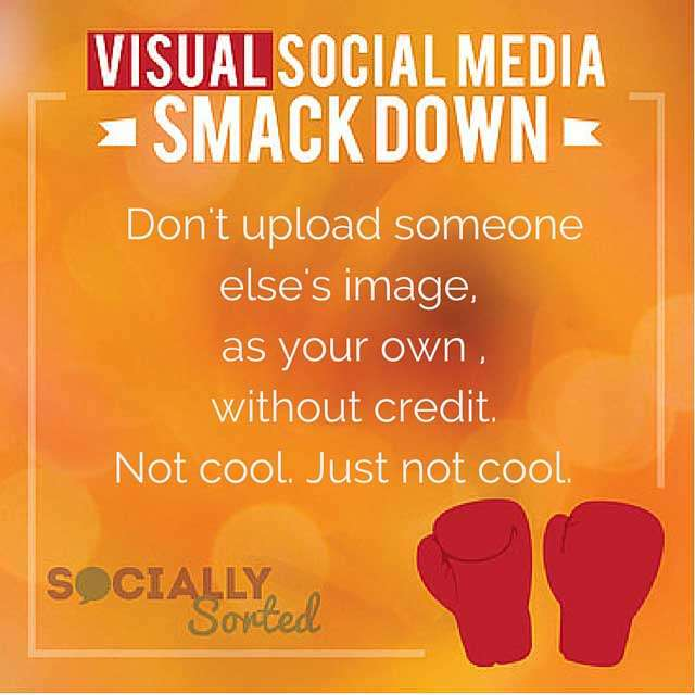 Don't upload an image as your own - share it instead using the share function of a social platform.