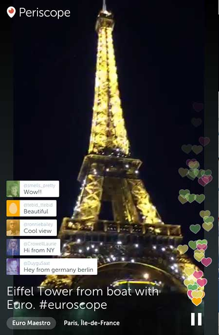 EuroMaestro in Paris on Periscope - 21 Periscope Tips for Winning Broadcasts