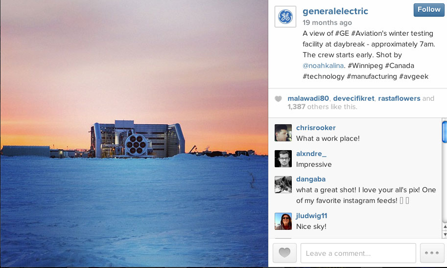 GE post natively on their Instagram Account