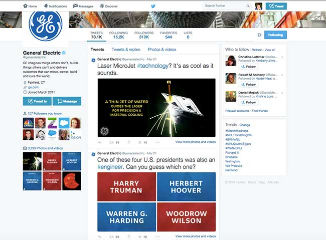 General Electric's Twitter Feed