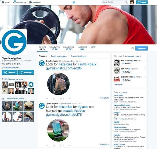 How to Use Images on Twitter to Make us Stand to Attention (Gym Navigator profile)
