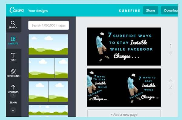 How to create 3 image sizes on one Canva Screen