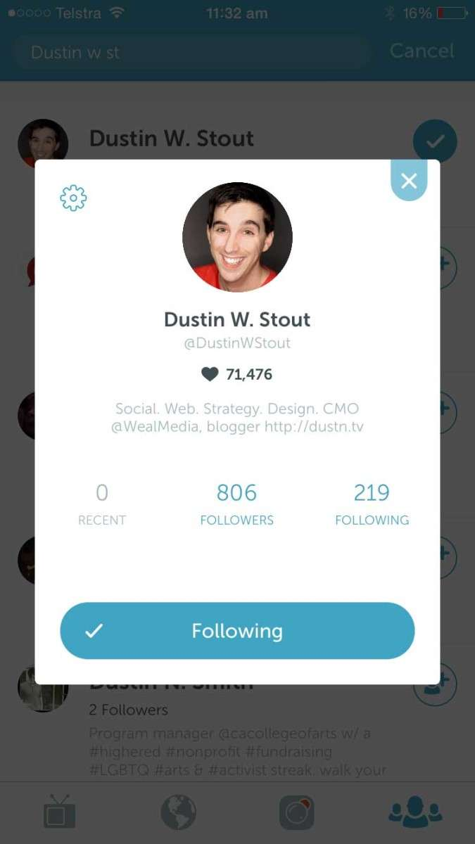 Dustin W Stout's account on Persiscope - 21 Periscope Tips for Winning Broadcasts