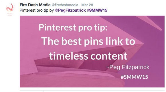 The best pins link to timeless content - Peg Fitzpatrick #smmw15
