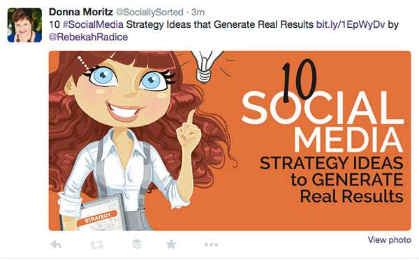The illusion of visual content strategy - Rebekah Radice's Twitter Image Example