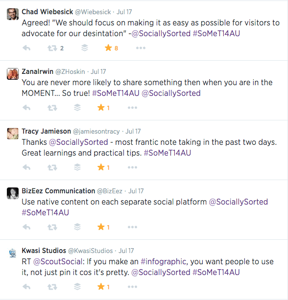 Examples of Hashtag Tweets at a Social Media Conference
