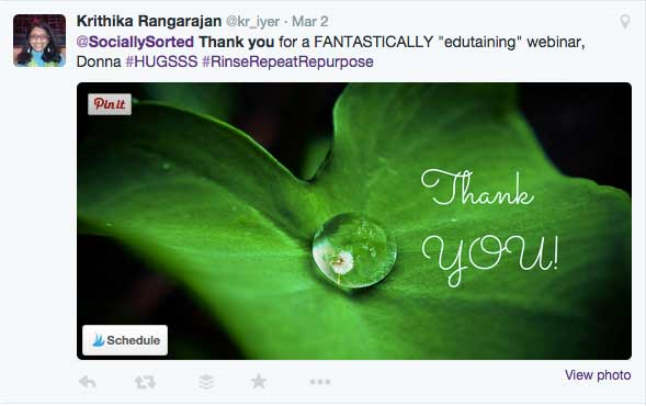 A great example of how to go the extra mile with your thank you tweet.